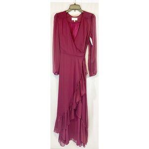 Wayf Ruffle wrap maxi dress